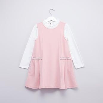 Plain Round Neck T-shirt with Sleeveless Dress