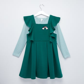 Striped T-shirt with Long Sleeves and Ruffle Detail Pinafore