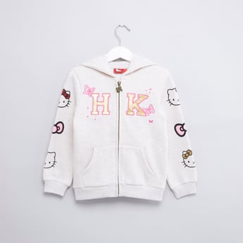 Hello Kitty Printed Hoodie with Long Sleeves and Zip Closure