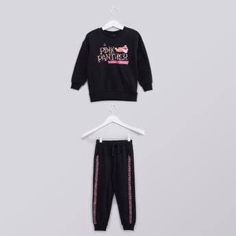 Pink Panther Printed Round Neck Sweatshirt and Jogger Set