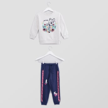 Bambie Printed Round Neck Sweatshirt and Jogger Pants Set