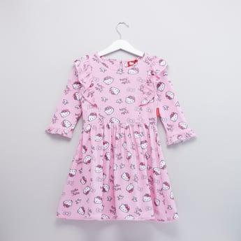 فستان بياقة مستديرة وأكمام طويلة وطبعات هالو كيتي