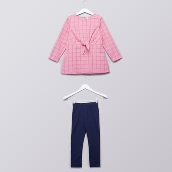Checked Top with Contrast Solid Pants Set