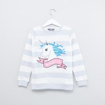 Unicorn Printed Sweatshirt with Round Neck and Long Sleeves