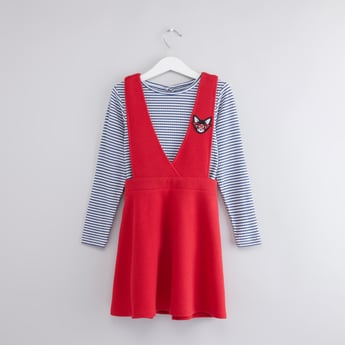 Striped Long Sleeves Top with Cross Strap Pinafore