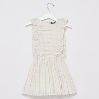 Foil Printed Sleeveless Dress with Round Neck and Smocking Detail