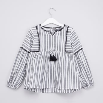 Striped Tunic Top with Tassel Detail and Long Sleeves