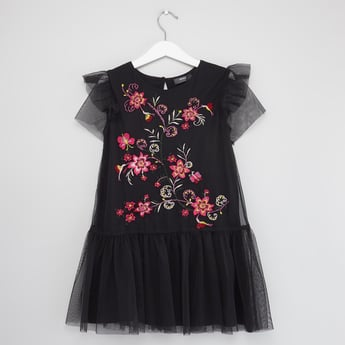 Embroidered Dress with Mesh Sleeves