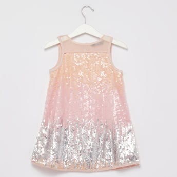 Sequin Detail Sleeveless Dress with Keyhole Closure