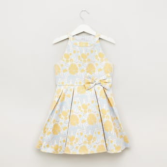 Floral Textured Sleeveless Dress with Bow Applique