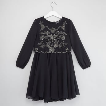 Embellished Dress with Round Neck and Long Sleeves