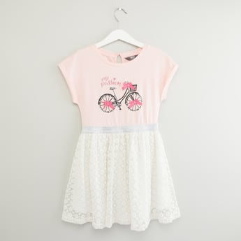 Printed Dress with Bow Applique