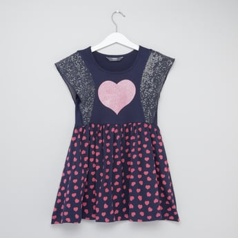 Heart Print Sequin Embellished Round Neck Dress with Cap Sleeves