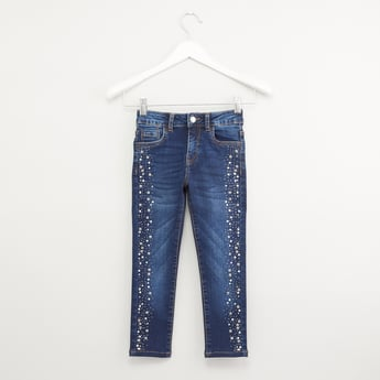 Embellished Jeans with Pocket Detail and Belt Loops
