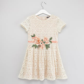Textured Dress with Round Neck and Floral Belt