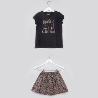 Animal Print Round Neck T-shirt with Skirt