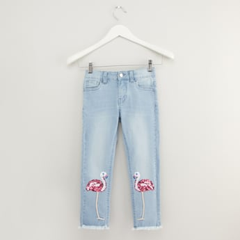 Flamingo Sequin Detail Jeans with Pockets
