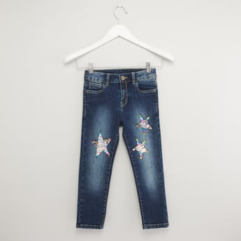 Star Sequin Detail Jeans with Pockets and Button Closure