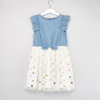 Heart Foil Detail Denim Dress with Bow Applique