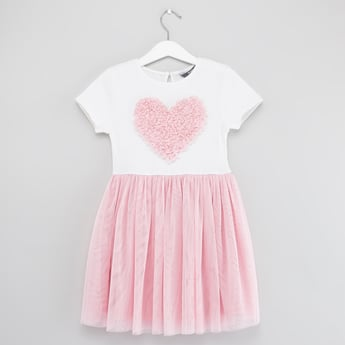 Textured Dress with Round Neck and Heart Applique