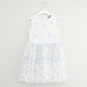 Printed Sleeveless Dress with Zip Closure