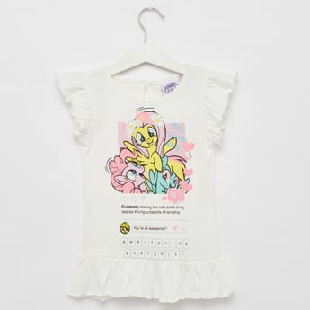 My Little Pony Print T-shirt with Round Neck and Cap Sleeves