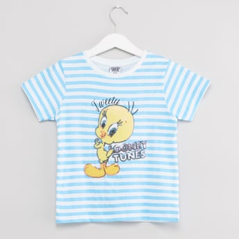 Tweety Sequin Detail T-shirt with Round Neck and Short Sleeves