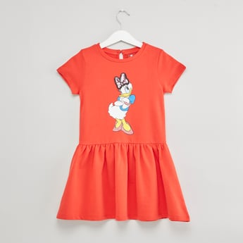 Daisy Duck Print Dress with Round Neck and Short Sleeves