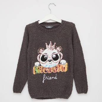 Embellished Round Neck Sweater with Long Sleeves and Sequin Detail