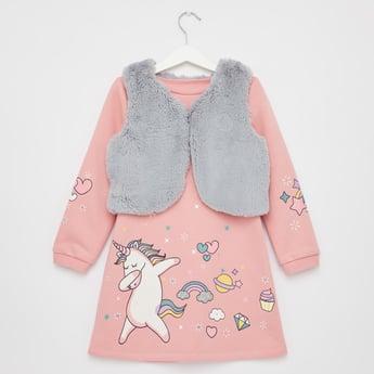 Unicorn Print Mini Dress with Textured Jacket