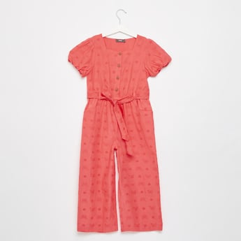 Butterfly and Schiffly Embroidered Jumpsuit with Short Sleeves
