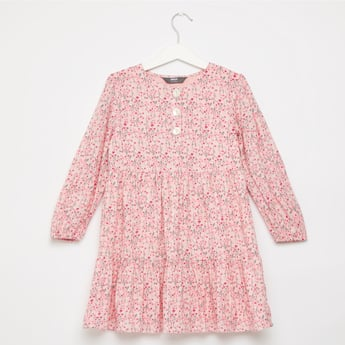 Floral Print Tiered Dress with Long Sleeves and Button Detail