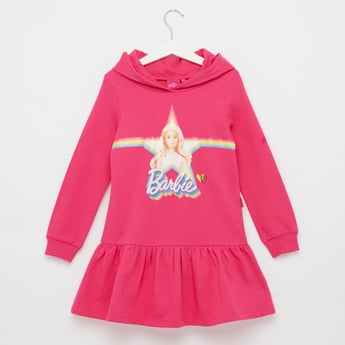 Barbie Print Sweat Dress with Hood and Long Sleeves