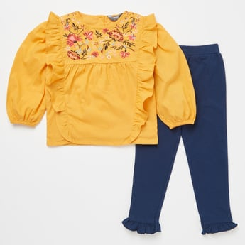 Embroidered Round Neck Top and Full Length Pant with Ruffle Detail