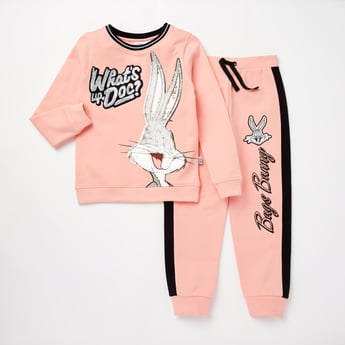 Bugs Bunny Embellished Top and Full Length Jog Pants Set