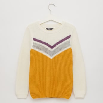 Chevron Stripes Sweater with Round Neck and Long Sleeves