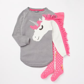 Unicorn Textured Sweater Dress and Closed Feet Stockings