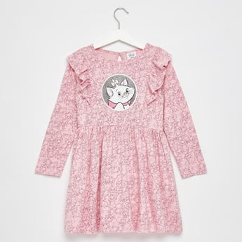Marie Print Round Neck Dress with Long Sleeves