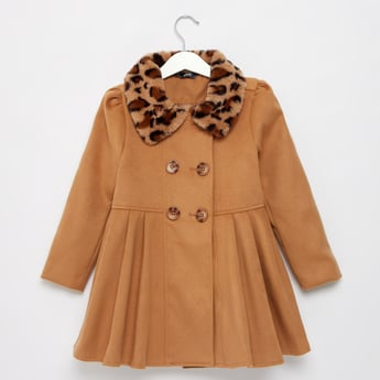 Solid Frock Coat with Long Sleeves and Plush Detail Collar