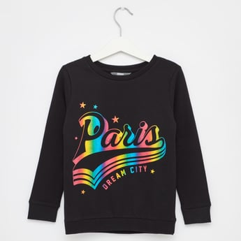 Paris Print Round Neck Sweatshirt with Long Sleeves