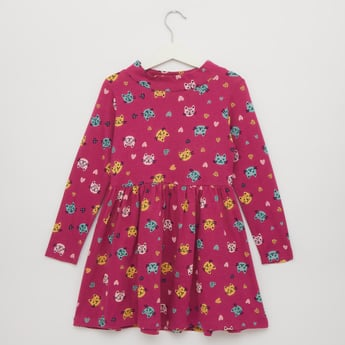 Cat Print Turtle Neck Dress with Long Sleeves