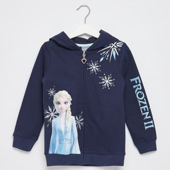 Frozen Elsa Print Jacket with Hood and Long Sleeves