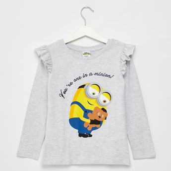 Minion Print T-shirt with Round Neck and Long Sleeves