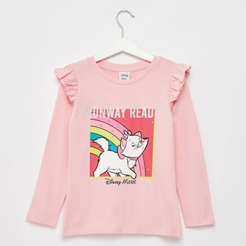 Marie Graphic Print T-shirt with Round Neck and Long Sleeves