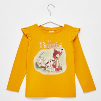 Bambi Print T-shirt with Long Sleeves and Ruffle Detail