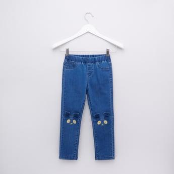 بنطال جينز من الدينم بخصر مطاطي وجيوب