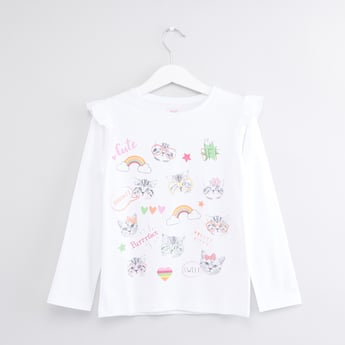 Printed Long Sleeves Ruffle Detail T-Shirt