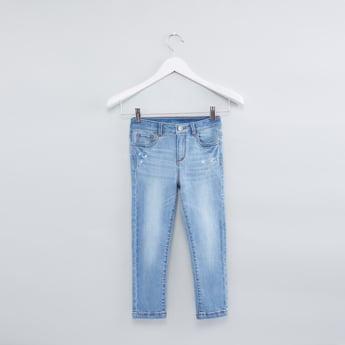 بنطال جينز بطبعات بزر إغلاق وجيوب