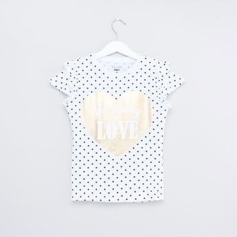 Printed Top with Cap Sleeves and Frill Detail