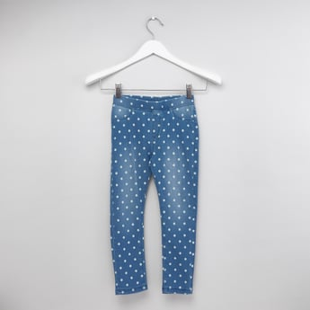 Polka Printed Full Length Jeggings with Elasticated Waistband